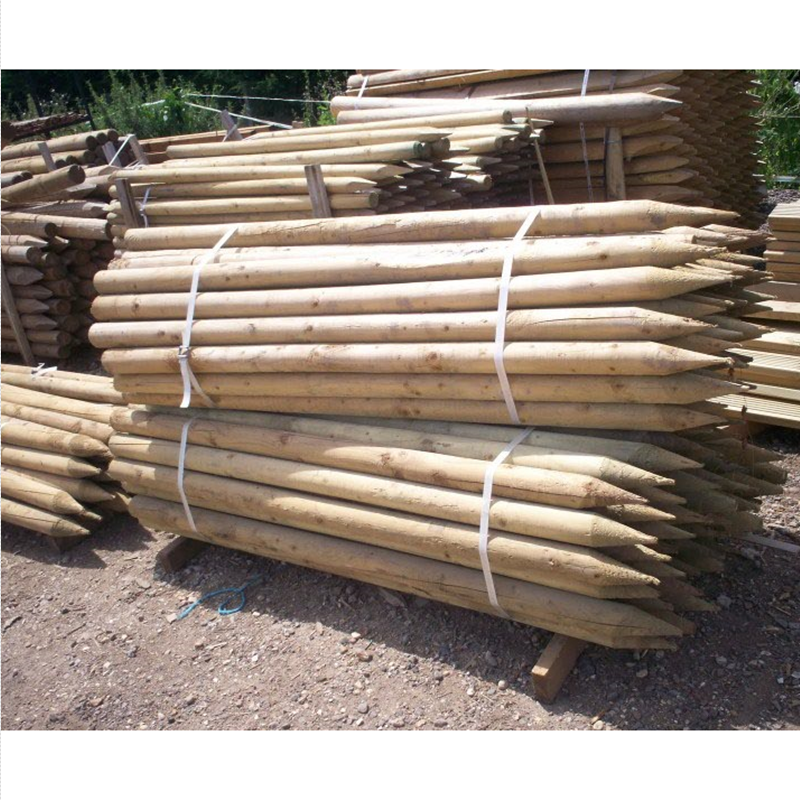 Half round post agriculture wooden fencing and